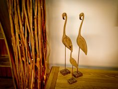 Ornamental Flamingo's in the Furniture area with our bespoke driftwood lamp