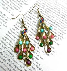 'Peacock Mutlicolored Huge Dangle Earrings' is going up for auction at  4pm Wed, Jul 25 with a starting bid of $5.