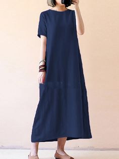 fe4897fd7964 V neck Shift Women Daily Short Sleeve Cotton Solid Casual Dress