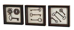 Rustic Black Wall Art Shadow Box Framed Skeleton Keys Set of Three