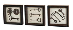 Rustic Black Wall Art Shadow Box Framed Skeleton Keys Set of Three