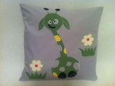 Happy Pillow- Crazy green Giraffe- handmade pillow  35x35 cm  Order at: happy_pillows@yahoo.com
