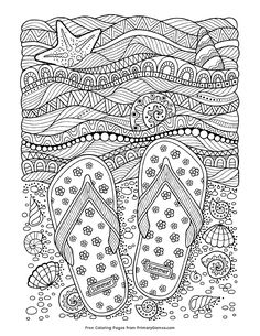 Beach flip-flops adult coloring page sheet. Beach flip-flops adult coloring page sheet. Summer Coloring Sheets, Beach Coloring Pages, Coloring Book Pages, Printable Coloring Pages, Coloring Pages For Kids, Unique Coloring Pages, Kids Coloring, Mandalas Drawing, Mandala Coloring