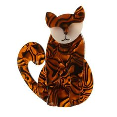 Erstwilder - Feed Me Francois Brooch - 1 Cardigan Clips, Cat Design, Resin Jewelry, Flowers In Hair, Cool Cats, Tigger, Brooch Pin, Costume Jewelry, Kitty