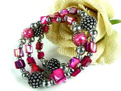 Vintage Beaded Pink and Silver Wrap Around Bracelet