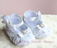 3-6 Months Baptism Baby Booties Christening, Wedding Baby - Sparkly, White Chiffon Rosettes, Ankle Strap with Bow BABY GIRL Gift