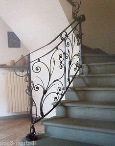 Wrought Iron Stair Railing, Staircase Railings, Stairways, Metal Railings, Wooden Staircases, Grand Staircase, Staircase Design, Stairway Decorating, Balustrades