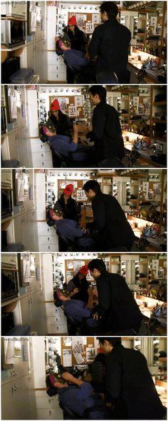 [gifset] Jensen and Misha in the SPN Mockumentary. S9 gag reel