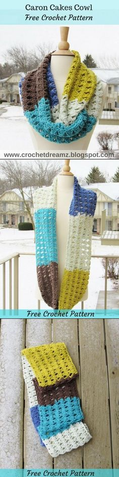 Use this Free Crochet Pattern to make an Infinity Scarf with one skein of Caron Cakes yarn.Click the picture to visit my blog and grab the free pattern today.