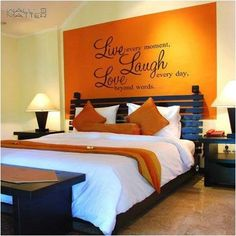 details about home decor decal vinyl wall sticker wall quote decals live laugh love b0300 - Orange Color Bedroom Walls