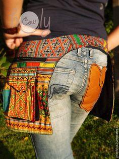 "Женские сумки ручной работы. Яркая сумка на пояс ""Yellow Hmong"". Thai Holy Cow…"