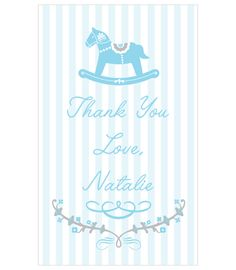 Rocking Horse Blue Thank-you Tag