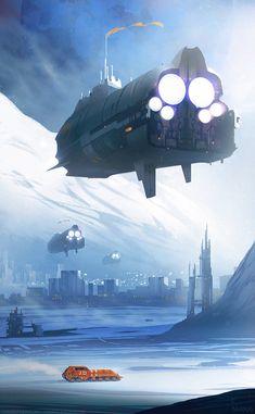 Science Fiction World Space Fantasy, Fantasy City, Fantasy World, Spaceship Art, Spaceship Concept, Arte Sci Fi, Sci Fi Art, Cartoon Mignon, Art Steampunk