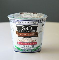 DAIRY FREE GREEK STYLE YOGURT - Ingredients:  ORGANIC COCONUT MILK (WATER, ORGANIC COCONUT CREAM), CHICORY ROOT EXTRACT, ORGANIC DRIED CANE SYRUP, RICE STARCH, PECTIN, TAPIOCA DEXTROSE, ALGIN (KELP EXTRACT), MAGNESIUM PHOSPHATE, TRICALCIUM PHOSPHATE, LOCUST BEAN GUM, LIVE CULTURES, GUAR GUM, MONK FRUIT EXTRACT, VITAMIN D-2, VITAMIN B12.