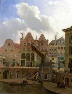 Gezicht op de Oudegracht te Utrecht bij de Stadhuisbrug met de voorgevels van de huizen aan de westzijde van de gracht en de Ganzenmarkt, met in het midden het huis Rutenberg en het St. Barbara- en Laurensgasthuis, en rechts de hoek van het huis Keijserrijk, met op de voorgrond de stadskraan, 1837.