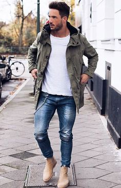 Skinny Jeans For Men Black Streetwear Hip Hop Stretch Jeans Hombre Slim Fit Fashion Biker Ankle Tight Beige Chelsea Boots, Chelsea Boots Outfit, Mode Masculine, Mode Outfits, Casual Outfits, Fashion Mode, Mens Fashion, Fashion Black, Street Fashion