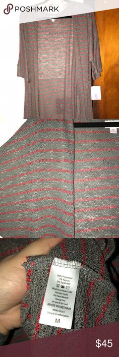 LuLaRoe Lindsay M *BNWT* Soft, light knit Lindsay in gray and red. Brand new with tags! LuLaRoe Sweaters
