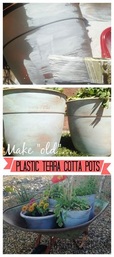 """Get the look of aged and worn terra cotta flower pots with plastic """"faux"""" terra cotta pots. Using watered down paint and a sanding brush (and my fave go to DIY tool), quickly """"age"""" a cheap plastic pot./ via DazzleWhileFrazzled blog"""