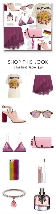 """""""Lace Skirts"""" by marialibra ❤ liked on Polyvore featuring Gucci, Michelle Mason, Jaggar, Illesteva, LoveStories, Coach, Marc Jacobs, Diane Kordas and Madyha Farooqui"""