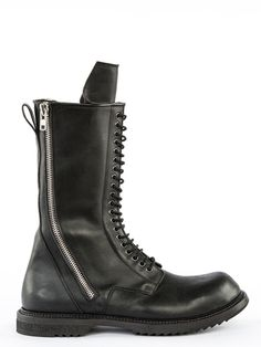RICK OWENS F14 MOODY DOUBLE ZIP LACE-UP BOOTS IN BLACK FEATURE A TWENTY-EYELET LACING AND A ZIPPER ON EACH SIDE. * COLOR: BLACK. * BODY: 100% COW LEATHER. * LINING: 100% CALF LEATHER. * INSOLE: 100% CALF LEATHER. * SOLE: 100% RUBBER.