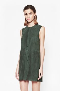 Sandie Suede Frill Detail Dress - Dresses - French Connection