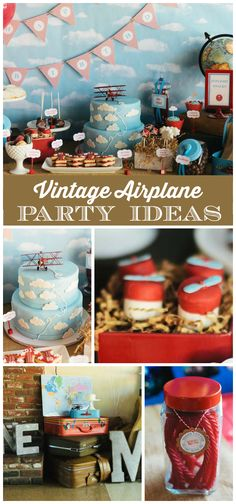 An amazing vintage airplane boy birthday party with cake pops, cloud cookies and cake! See more party planning ideas at CatchMyParty.com!