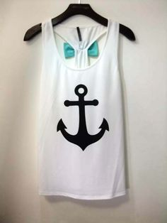 JUST IN!! FIRST MATE White Mint Green Bow Back Anchor Top Shop Simply Me Boutique – Simply Me Boutique