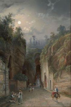 Artwork by Gioacchino La Pira, La grotte de Pozzuoli, Made of gouache