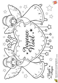Coloriage anges de noel joyeux noel sur Hugolescargot.com - Hugolescargot.com