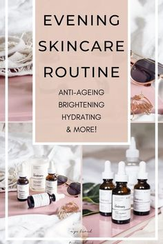 My super effective evening skincare routine that makes skin brighter hydrated and improves pigmentation and even skintone inc. The Ordinary Diy Skin Care, Skin Care Tips, The Ordinary Rosehip Oil, Anti Aging Skin Care, Natural Skin Care, Best Cleansing Oil, Serum, The Ordinary Granactive Retinoid, The Ordinary Products