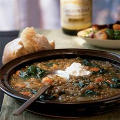 Lentils and chard are tasty partners in soup recipes. In fact, lentils pair well with all kinds of greens—from sweet spinach to pungent broccoli rabe, turnip greens, and mustard greens. Adding the chard toward the end of cooking keeps the color bright. Chard Recipes, Veggie Recipes, Vegetarian Recipes, Cooking Recipes, Healthy Recipes, Healthy Foods, Yummy Recipes, Recipies, Lentil Vegetable Soup