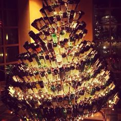 Our wine bottle chandelier is of course a trademark signature at Anthony's fine food and wine.  This is a beautiful wine bottle Christmas tree. Does anyone want to make me one LOL? I'll give you a free bottle of wine or two