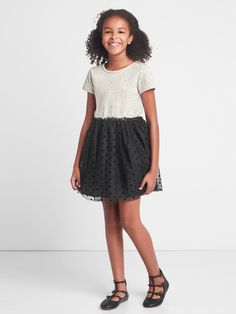 399d5e60be Gap Girls Mix-Fabric Dotty Dress - Grey Heather Xxl Party Shop, Holiday  Dresses