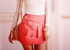 Lace shirt and coral skirt! Love!