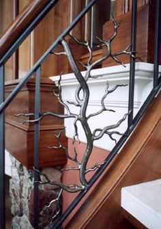 Home Decoration Online Shopping Info: 5625786223 Indoor Railing, Outdoor Stair Railing, Interior Stair Railing, Wrought Iron Stair Railing, Stair Railing Design, Staircase Railings, Stair Decor, Railing Ideas, Banisters