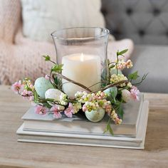 Bring in the season from outside with our Easter Egg with Blossom Glass Candle Holder. The natural look will be the perfect complement to your Easter décor. Diy Osterschmuck, Easter Table Decorations, Easter Centerpiece, Easter Candle, Spring Decorations, Wedding Decorations, Deco Floral, Glass Candle Holders, Easter Wreaths