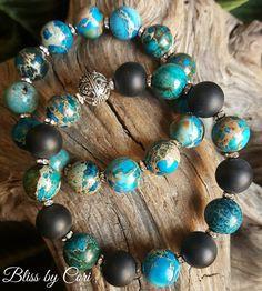 Onyx, Imperial Blue Jasper & Sterling Silver Stretch Bracelet Duo - Reiki, Energy, Spiritual, Yoga, Meditation, Boho  *FREE SHIPPING*  by BlissbyCori on Etsy $55.00