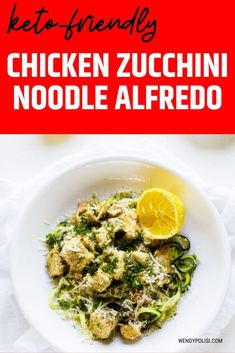 This Chicken Zucchini Noodle Alfredo is a delicious low-carb option to traditional pasta. Keto Friendly with the use of heavy cream or use my quinoa cream recipe for a lower fat alternative.  This is one you will want to put in your weekly rotation. Gluten Free Recipes For Breakfast, Healthy Gluten Free Recipes, Gluten Free Dinner, Keto Recipes, Dinner Recipes, Chicken Zucchini, Zucchini Noodles, Baked Chicken Recipes, Quinoa