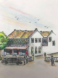 Old shophouse Watercolor pencil