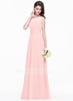 A-Line/Princess Scoop Neck Floor-Length Ruffle Zipper Up Regular Straps Sleeveless No Pearl Pink Other Colors Summer Fall General Plus Chiffon Bridesmaid Dress