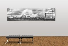 Black and white landscape panoramic photograph of the Manchester skyline / urban / canvas Print / wall art / home decor / Photography