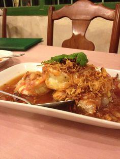 Raya Restaurant, Phuket, Thailand — by Elizabeth Kelsey Bradley. Tamarind prawns