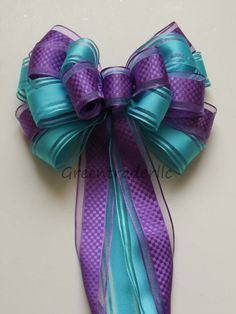 Purple Blue Peacock Wedding Pew Bow Orchid Aqua Blue Bow by greentraderllc,