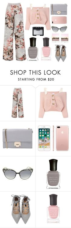 """""""Red Valentino top"""" by juliehalloran ❤ liked on Polyvore featuring Sans Souci, RED Valentino, Jimmy Choo, Polaroid, Deborah Lippmann and NARS Cosmetics"""