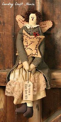 New Primitive Country Folk Art RAGGEDY ANGEL DOLL Tea Stained Berry Vine Star