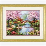 Japanese Garden in Counted Cross Stitch