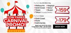 Khuyến mãi các đường bay từ HCM/ Hà Nội đến Hàn Quốc/ Australia/ với giá vé chỉ từ 159usd( chưa bao gồm thuế phí) Liên hệ đặt vé tại 129 Nguyễn Huệ Q1 HCM. SDT 0909 004 317 hoặc (08) 39 141414 - 419