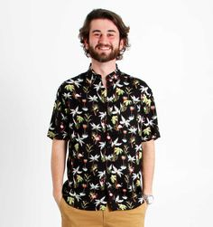 Super Massive Clothing Tropical Flamingo Print BBQ Shirt in Black for Men AW033-JP758