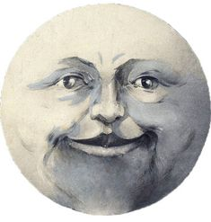 Man in the moon....link includes a version with him sticking out his tongue! Creepy