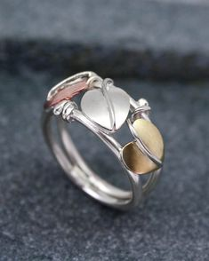 Silver, copper and brass three leaf ring | Starboard Jewellery